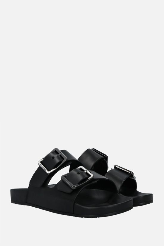 BALENCIAGA: Mallorca nappa slide sandals Color Black_2