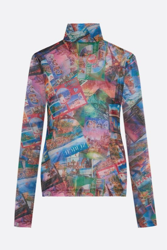 BALENCIAGA: Postcards print stretch tulle long-sleeved top Color Multicolor_2