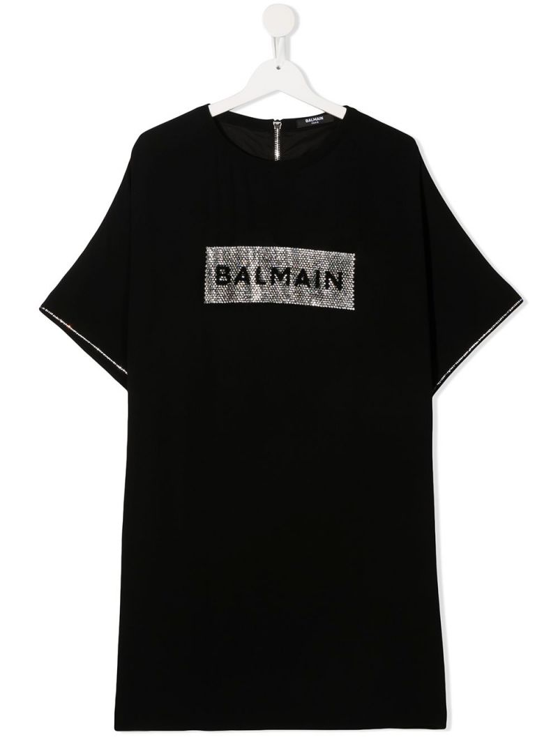 BALMAIN KIDS: rhinestone-embellished logo viscose blend dress Color Black_1