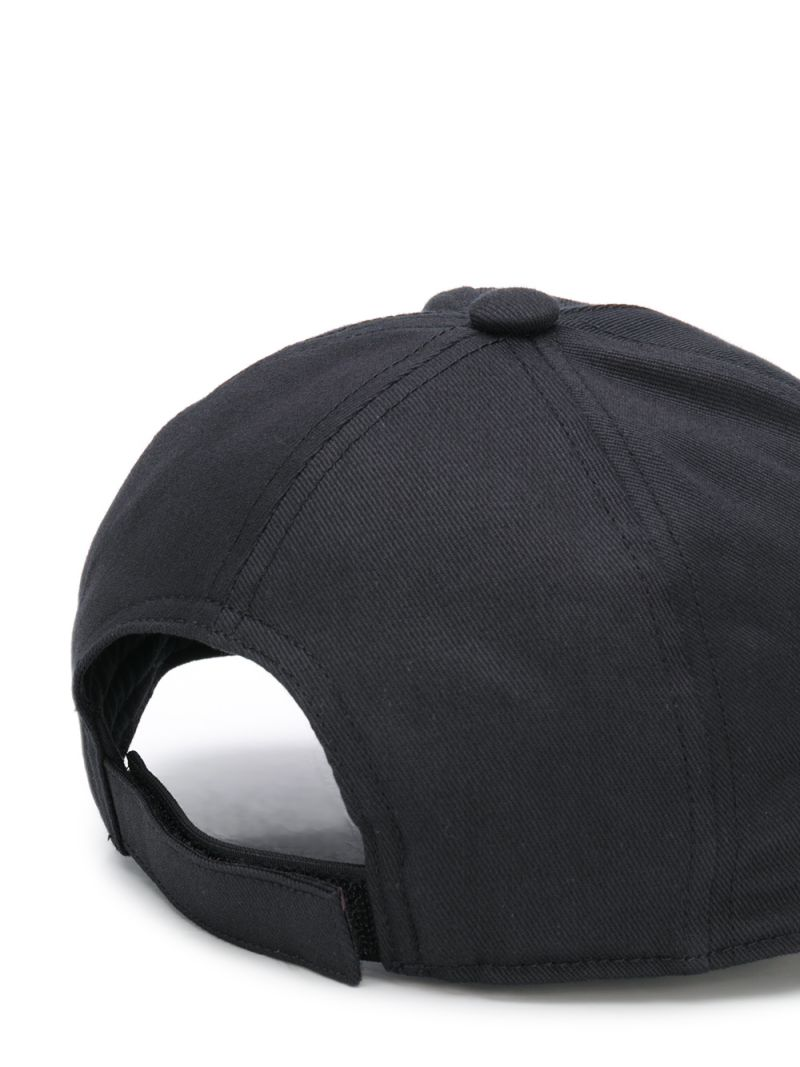 BALMAIN KIDS: Balmain logo embroidered cotton baseball cap Color Black_2