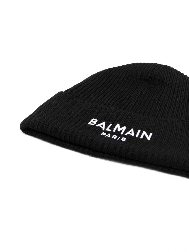 BALMAIN KIDS: logo embroidered ribbed wool beanie Color Black_2