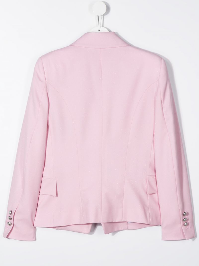 BALMAIN KIDS: wool blend duble-breasted jacket Color Pink_2