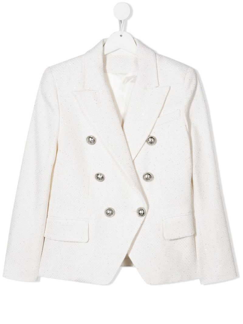 BALMAIN KIDS: tweed double-breasted jacket Color Neutral_1