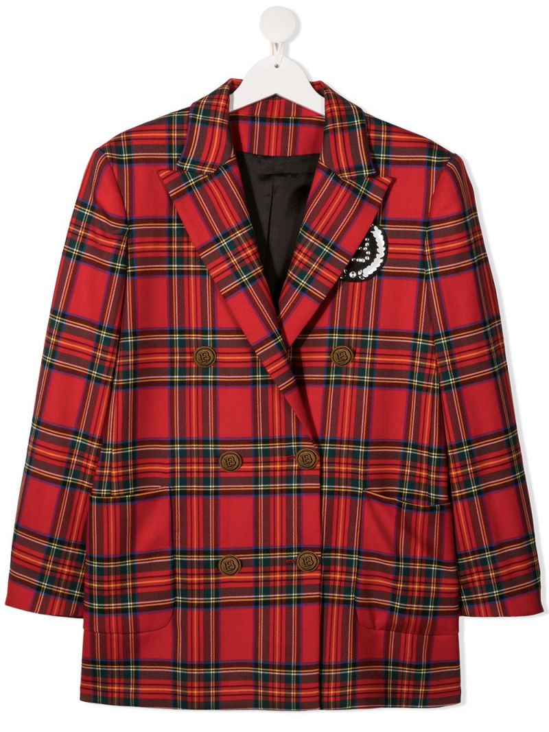 BALMAIN KIDS: double-breasted check wool jacket Color Red_1