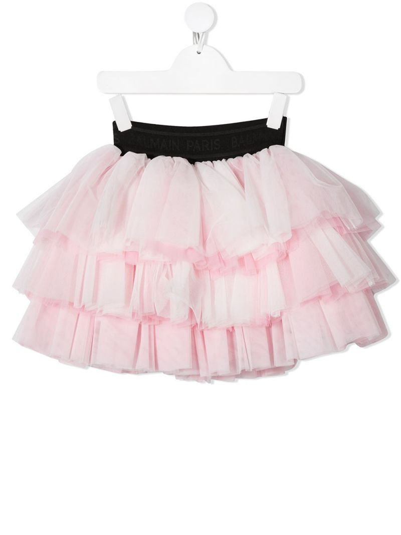 BALMAIN KIDS: tulle flounced skirt Color Pink_1