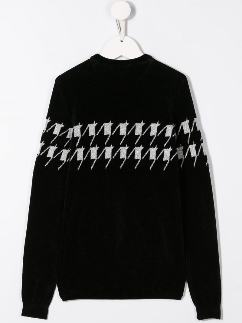 BALMAIN KIDS: logo print cotton blend pullover Color Black_2
