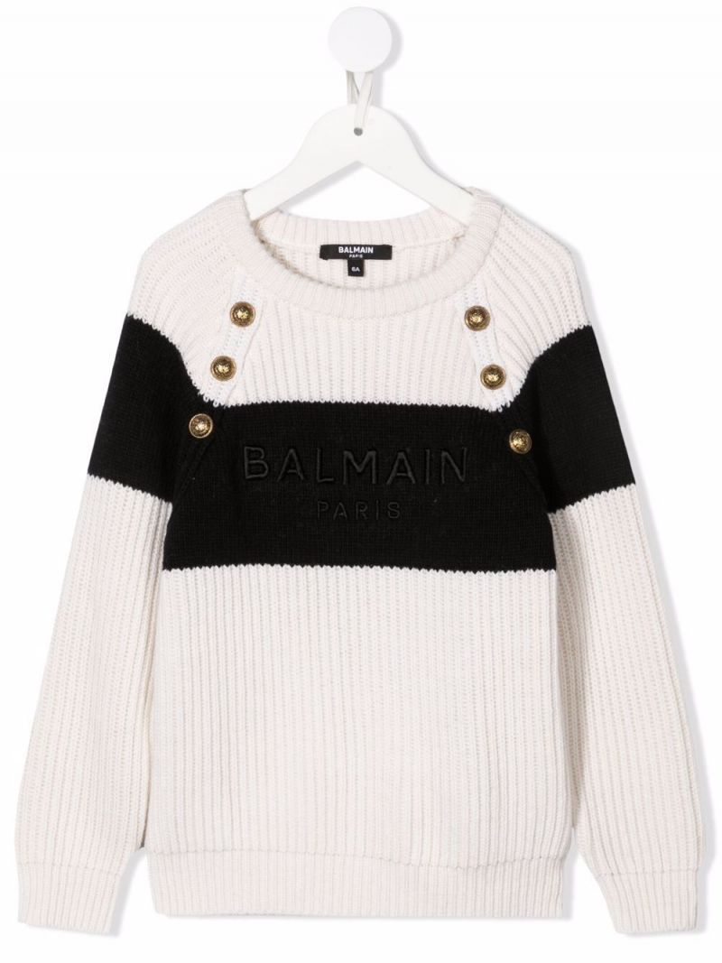 BALMAIN KIDS: logo embroidery cashmere blend pullover Color Neutral_1