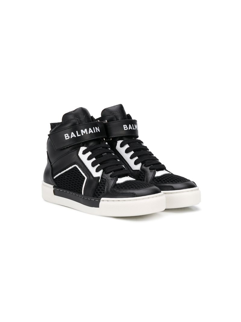 BALMAIN KIDS: smooth leather and mesh high-top sneakers Color Black_1