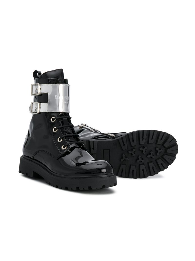 BALMAIN KIDS: logo-detailed patent leather combat boots Color Black_2