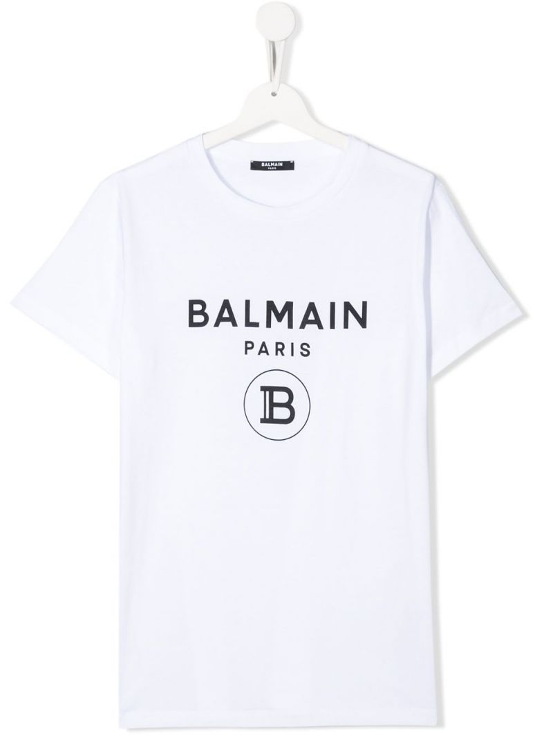 BALMAIN KIDS: Balmain logo print cotton t-shirt Color Grey_1