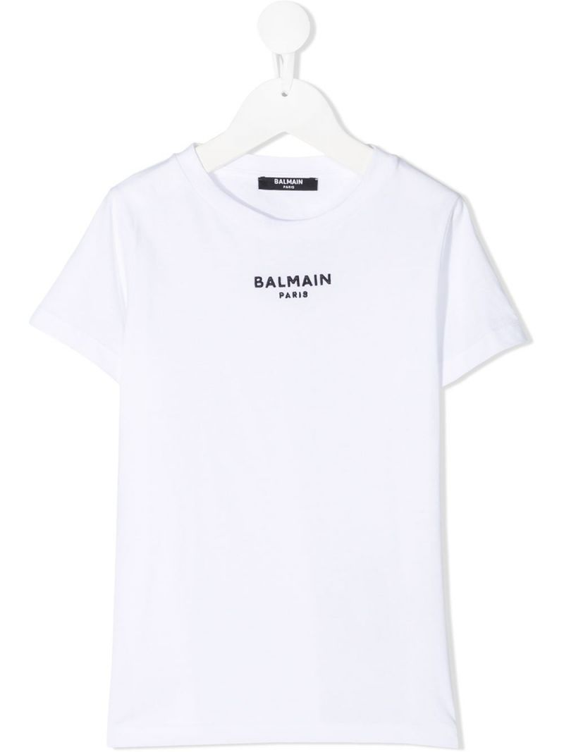 BALMAIN KIDS: logo embroidered cotton t-shirt Color Grey_1