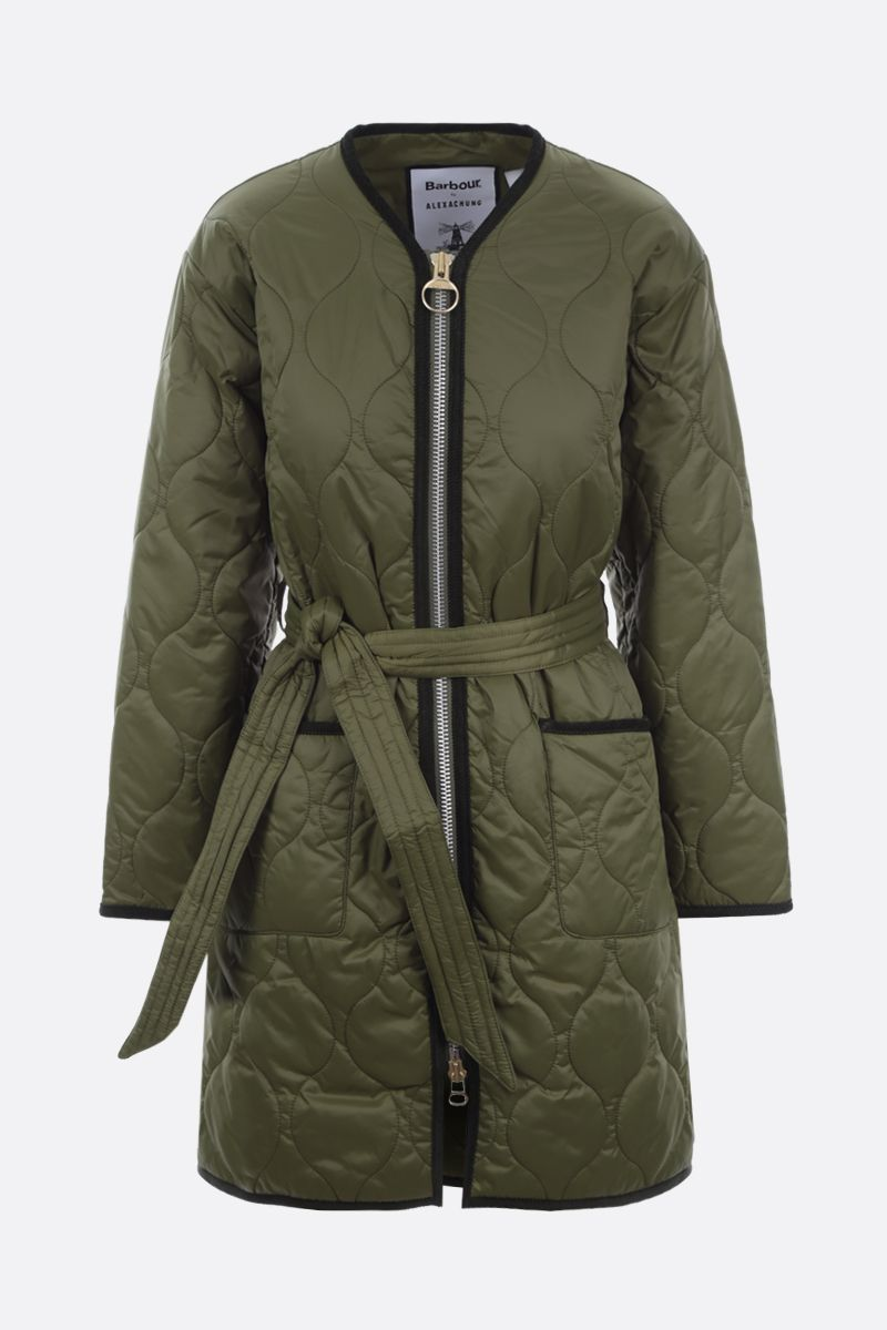 BARBOUR BY ALEXA CHUNG: Billie belt-detailed quilted nylon jacket Color Brown_1
