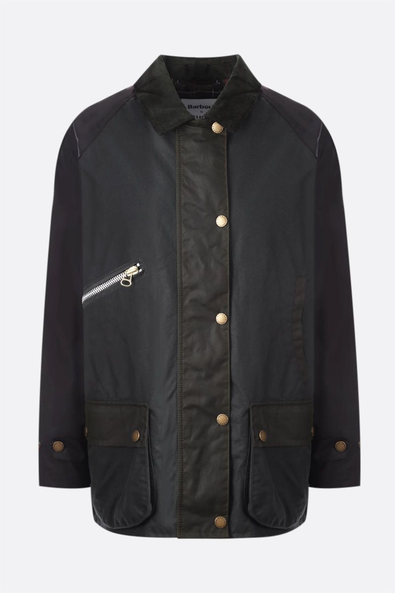 BARBOUR BY ALEXA CHUNG: Benedict waxed canvas jacket Color Green_1
