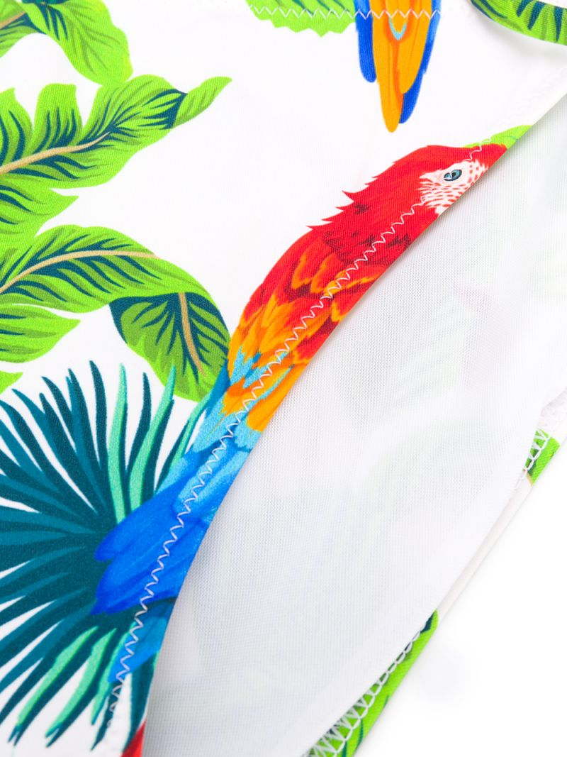 MC2 Saint Barth: parrots print lycra triangle bikini Color White_2