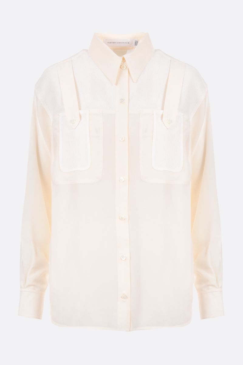VICTORIA BECKHAM: silk chiffon shirt with knit inserts Color Neutral_1