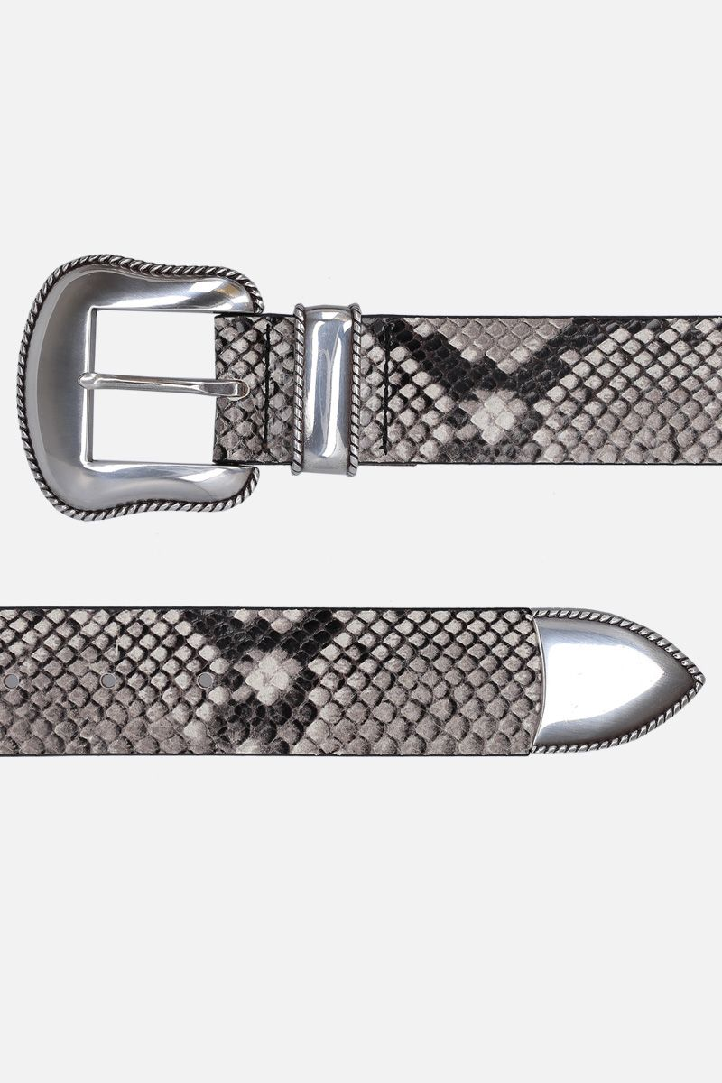 B-LOW THE BELT: cintura Villain in pelle a stampa pitone Colore Animalier_2
