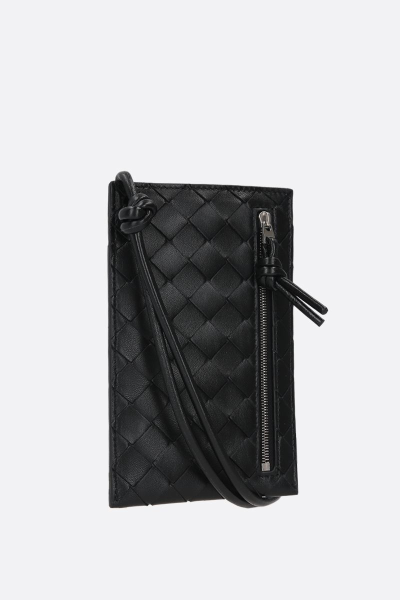 BOTTEGA VENETA: Intrecciato VN smartphone holder Color Black_2