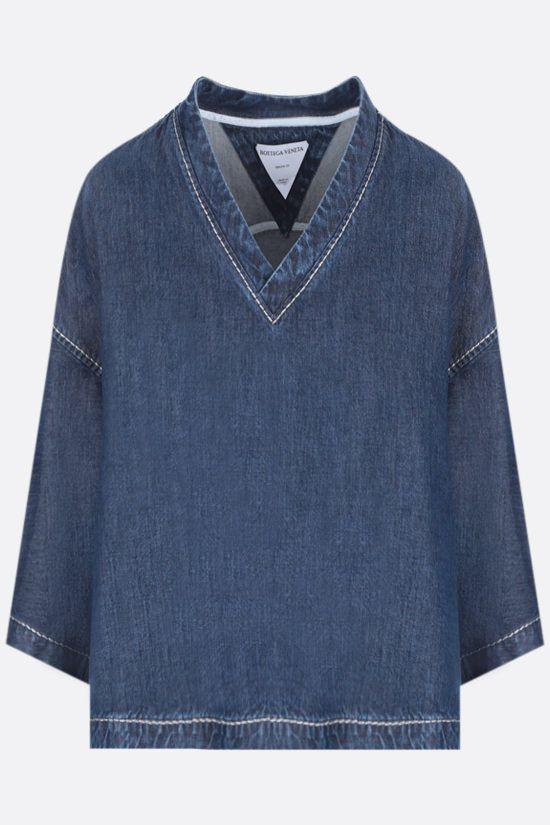 BOTTEGA VENETA: blusa cropped a maniche corte in denim Color Blue_1