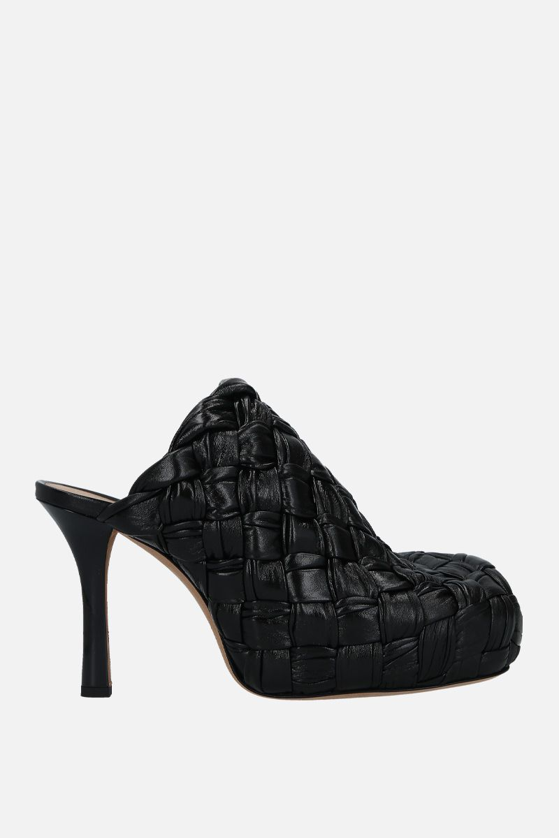 BOTTEGA VENETA: BV Bold mules in Intrecciato shiny nappa Color Black_1