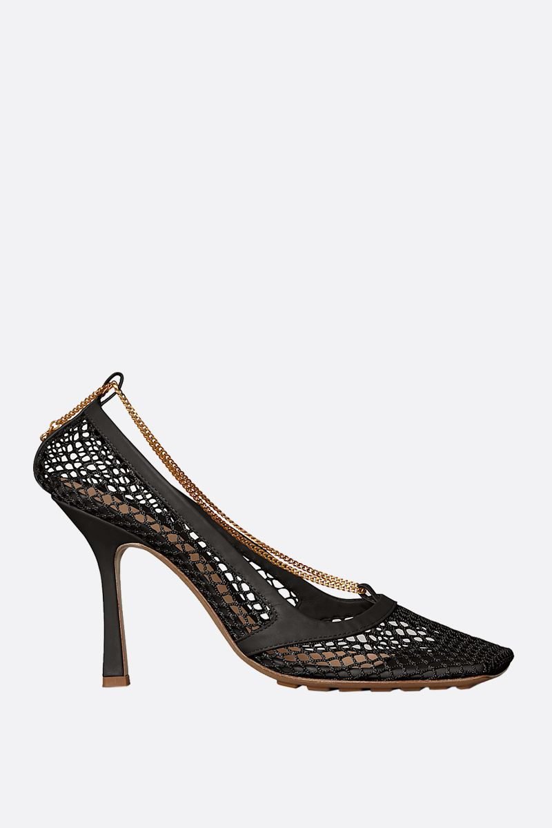 BOTTEGA VENETA: mesh and smooth leather pumps Color Black_1