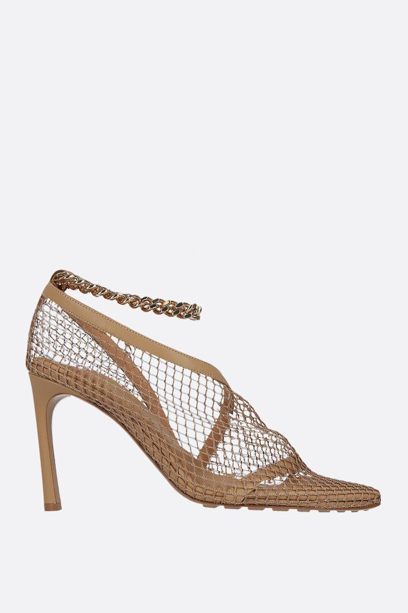 BOTTEGA VENETA: chain-detailed nappa and mesh sandals Color Neutral_1