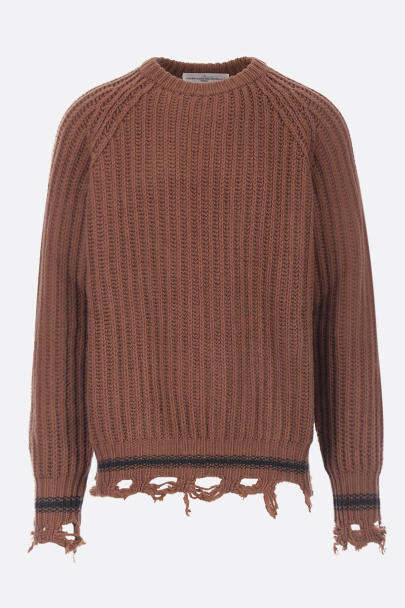 GOLDEN GOOSE DELUXE BRAND: Kunio distressed-effect wool pullover Color Brown_1