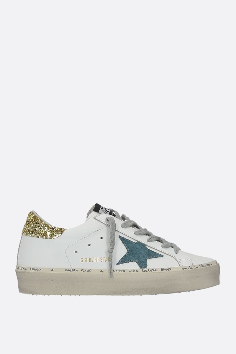 GOLDEN GOOSE DELUXE BRAND: Hi Star sneakers in smooth leather and glitter Color White_1