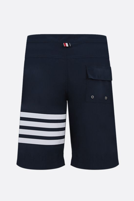 THOM BROWNE: 4-bar detailed nylon swim shorts Color Blue_2