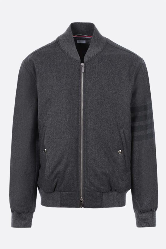 THOM BROWNE: 4-bar-detailed wool cashmere blend padded bomber jacket Color Grey_1