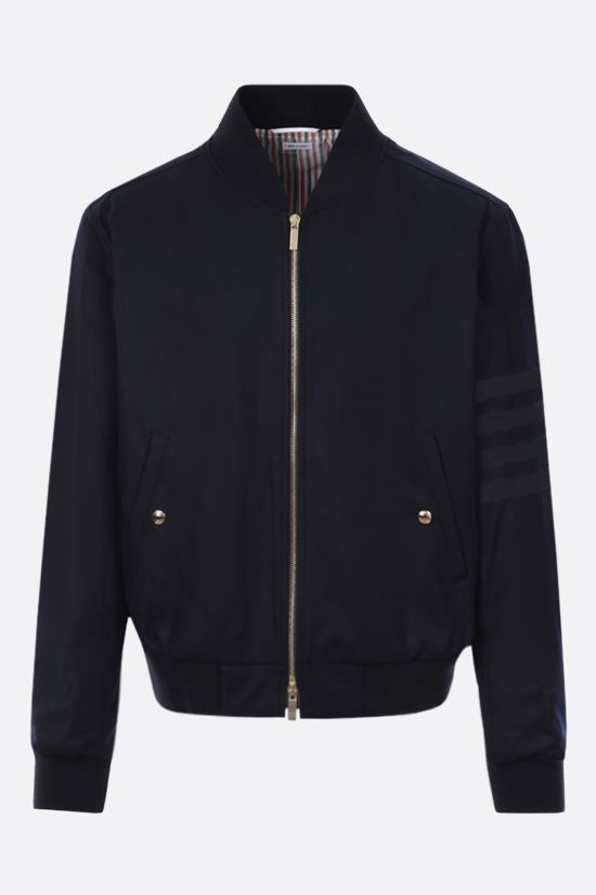 THOM BROWNE: wool flannel bomber jacket Color Blue_1