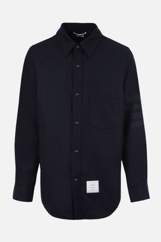 THOM BROWNE: 4-bar-detailed wool cashmere blend overshirt Color Blue_1