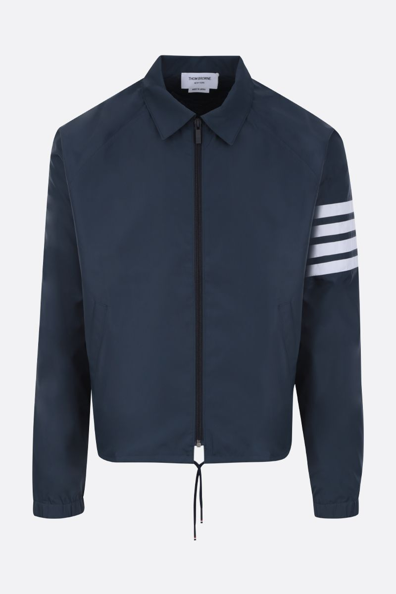 THOM BROWNE: 4-bar detailed nylon windbreaker Color Blue_1