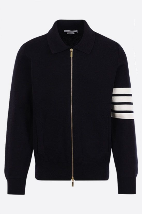 THOM BROWNE: 4-bar-detailed cotton bomber jacket Color Blue_1