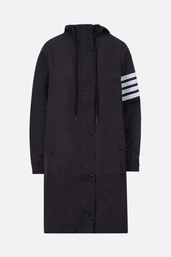 THOM BROWNE: 4-bar-detailed nylon parka Color Grey_1