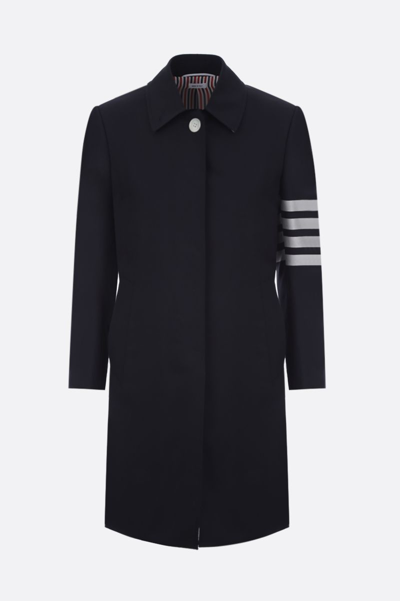 THOM BROWNE: wool single-breasted overcoat Color Blue_1