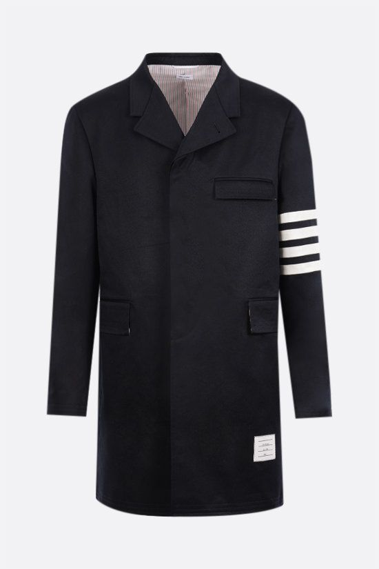 THOM BROWNE: 4-bar-detailed cotton overcoat Color Blue_1