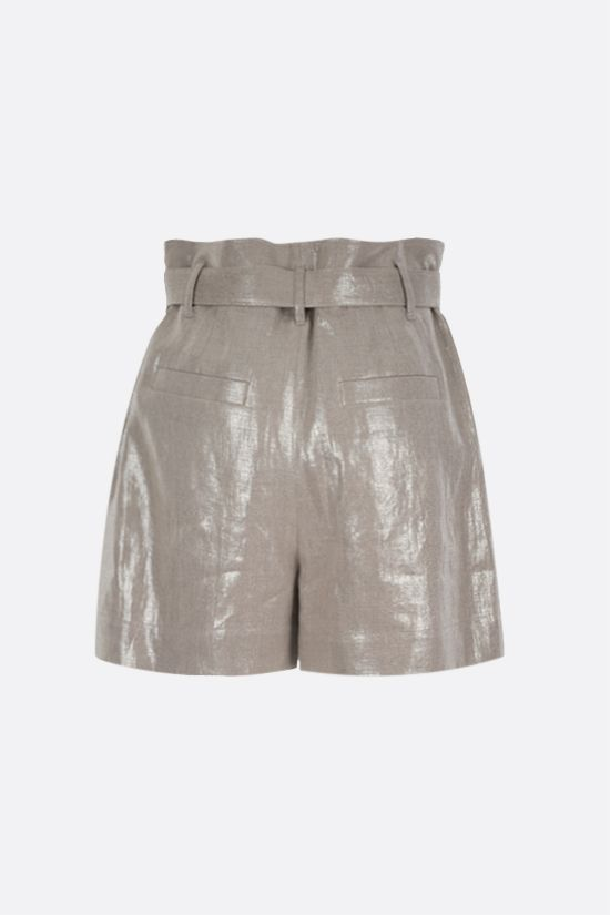 BRUNELLO CUCINELLI: belt-detailed linen lurex blend shorts Color Gold_2