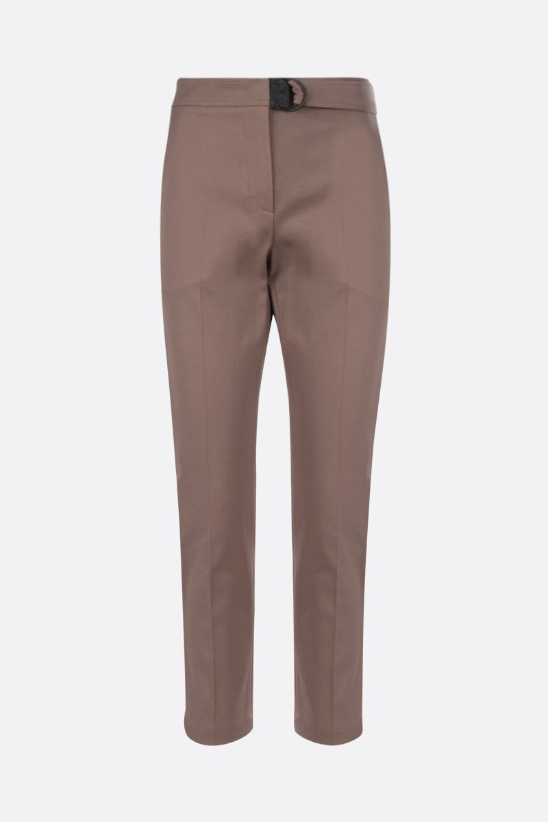 BRUNELLO CUCINELLI: monili-detailed stretch cotton cropped pants Color Brown_1