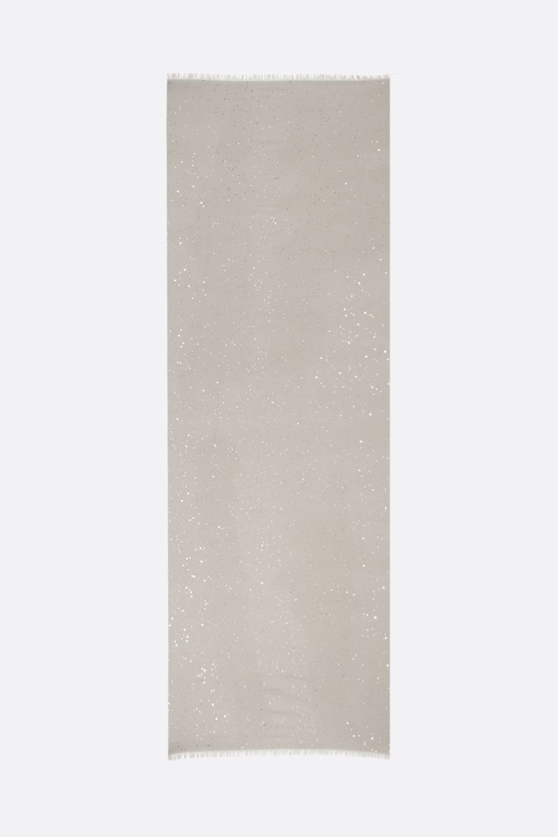 BRUNELLO CUCINELLI: sequin-embroidered cashmere silk stole Color Neutral_2