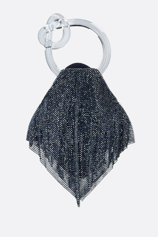BENEDETTA BRUZZICHES: Casper little crystal-embellished metal mesh clutch Color Blue_1