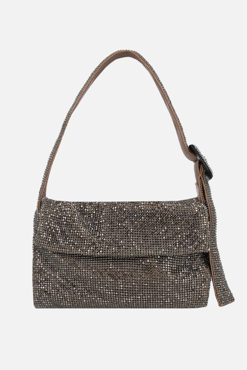 BENEDETTA BRUZZICHES: La Monique small crystal-embellished metal mesh shoulder bag_1