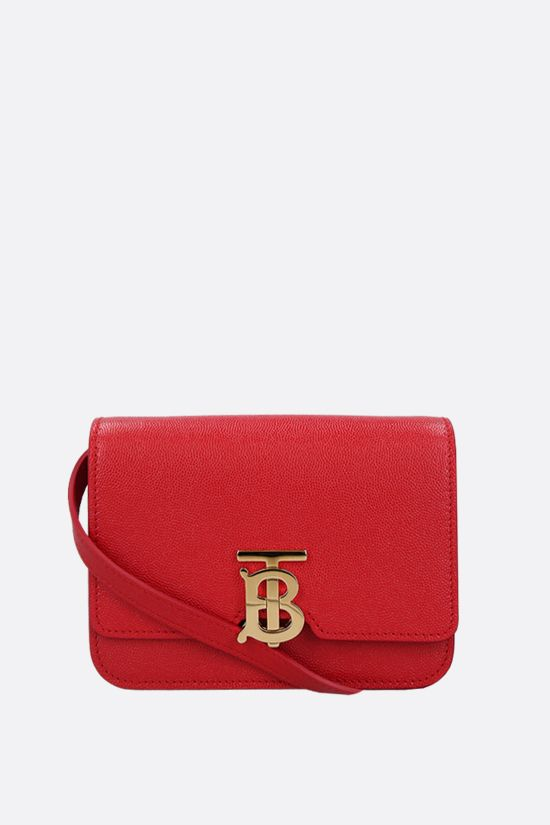 BURBERRY: TB mini textured leather shoulder bag Color Red_1