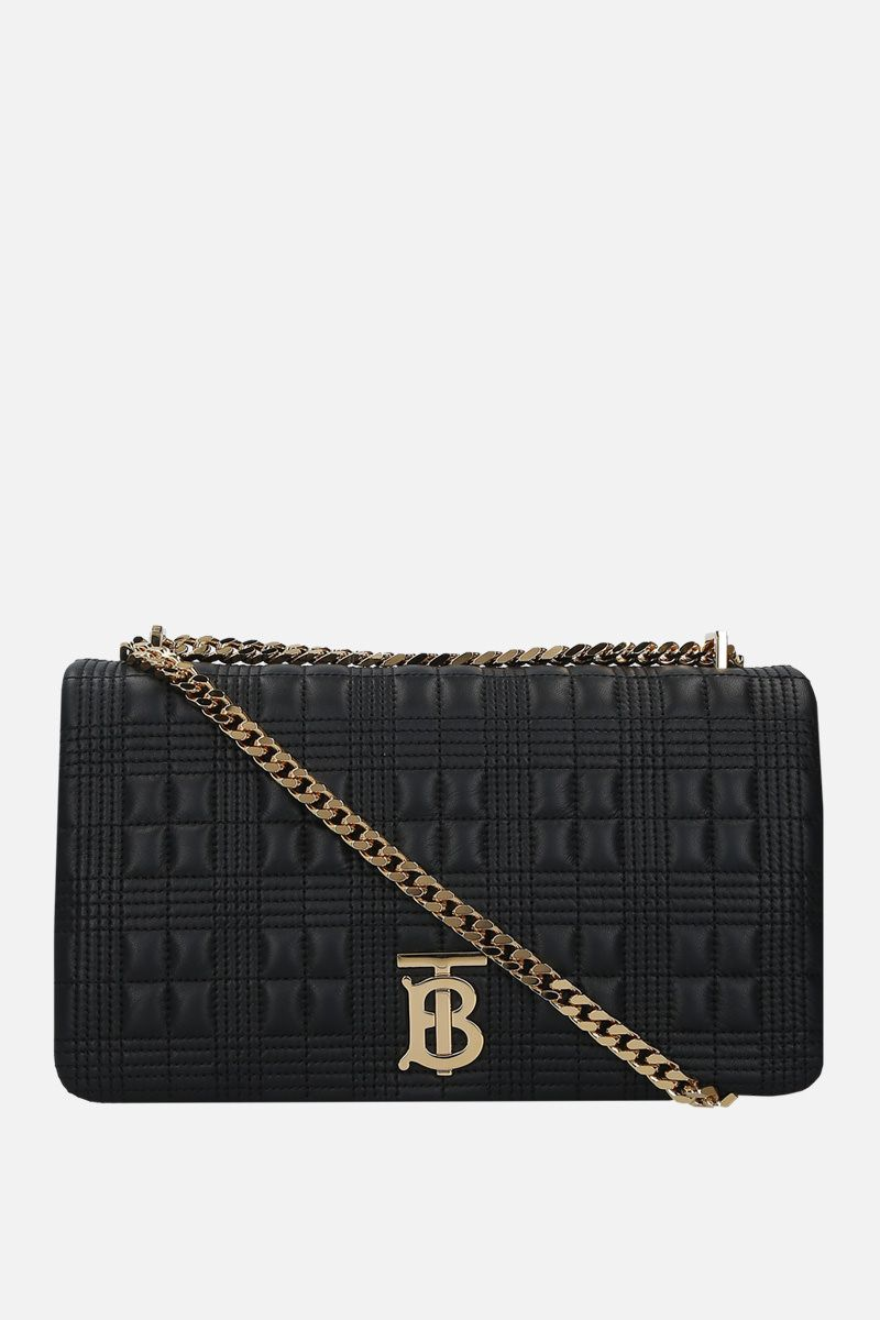 BURBERRY: borsa a spalla Lola media in nappa matelassè Colore Nero_1