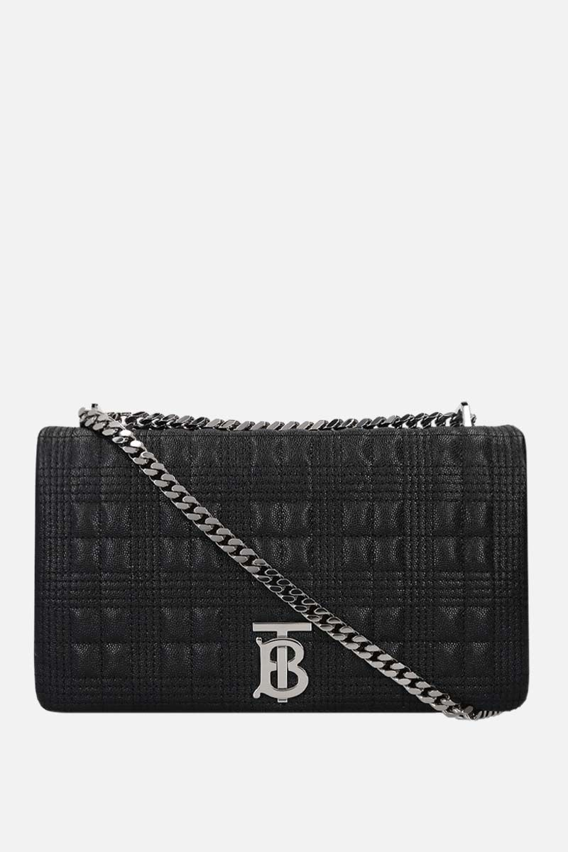 BURBERRY: Lola medium quilted textured leather shoulder bag Color Black_1