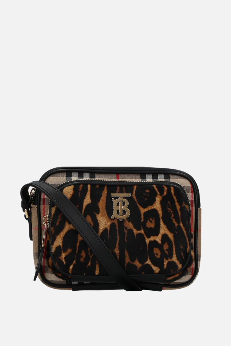 BURBERRY: borsa a spalla in canvas e cavallino leopardato Colore Nero_1