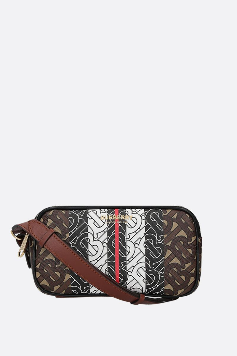 BURBERRY: borsa a spalla mini in canvas resinato stampa TB Monogram_1