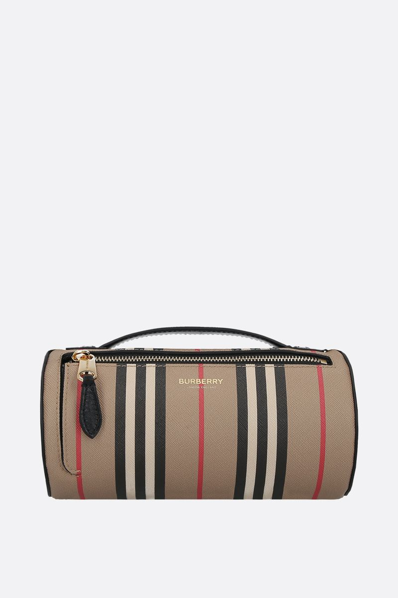 BURBERRY: The Barrel coated canvas shoulder bag Color Brown_1