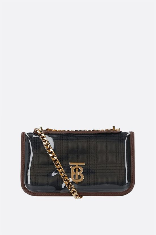 BURBERRY: Lola mini quilted nappa and PVC crossbody bag Color Black_1