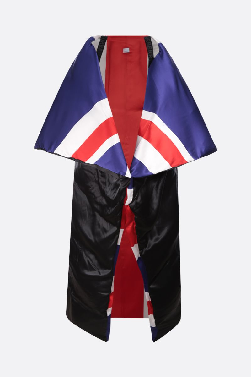 BURBERRY: oversized puffer cape in Union Jack printed satin Color Multicolor_1