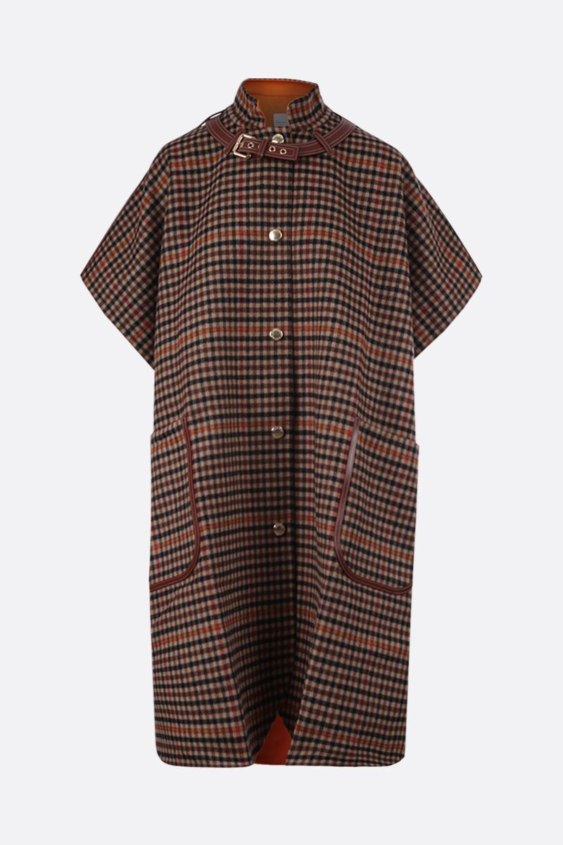 BURBERRY: Hemsby check wool cape Color Multicolor_1